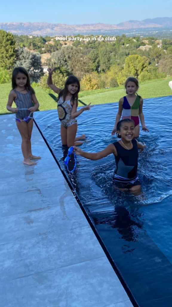 Scott Disick Hosts Pool Party for Penelope and Cousin North