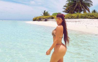 Kim Kardashian Wears String Bikini on 40th Birthday Trip 4
