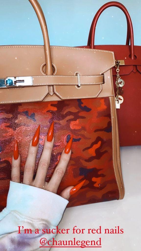 Boss Babe! Khloe Kardashian Flaunts Fierce Red Manicure and Custom Camouflage Birkin