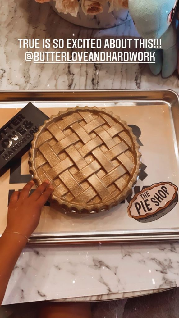 Yummy! Khloe Kardashian Shares a ~Sweet~ Post of Daughter True Thompson Breaking Open a Pie