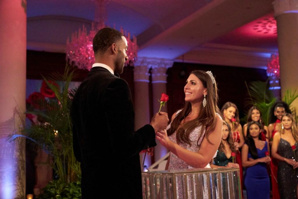 Matt James Gives Queen Victoria Larson a Rose