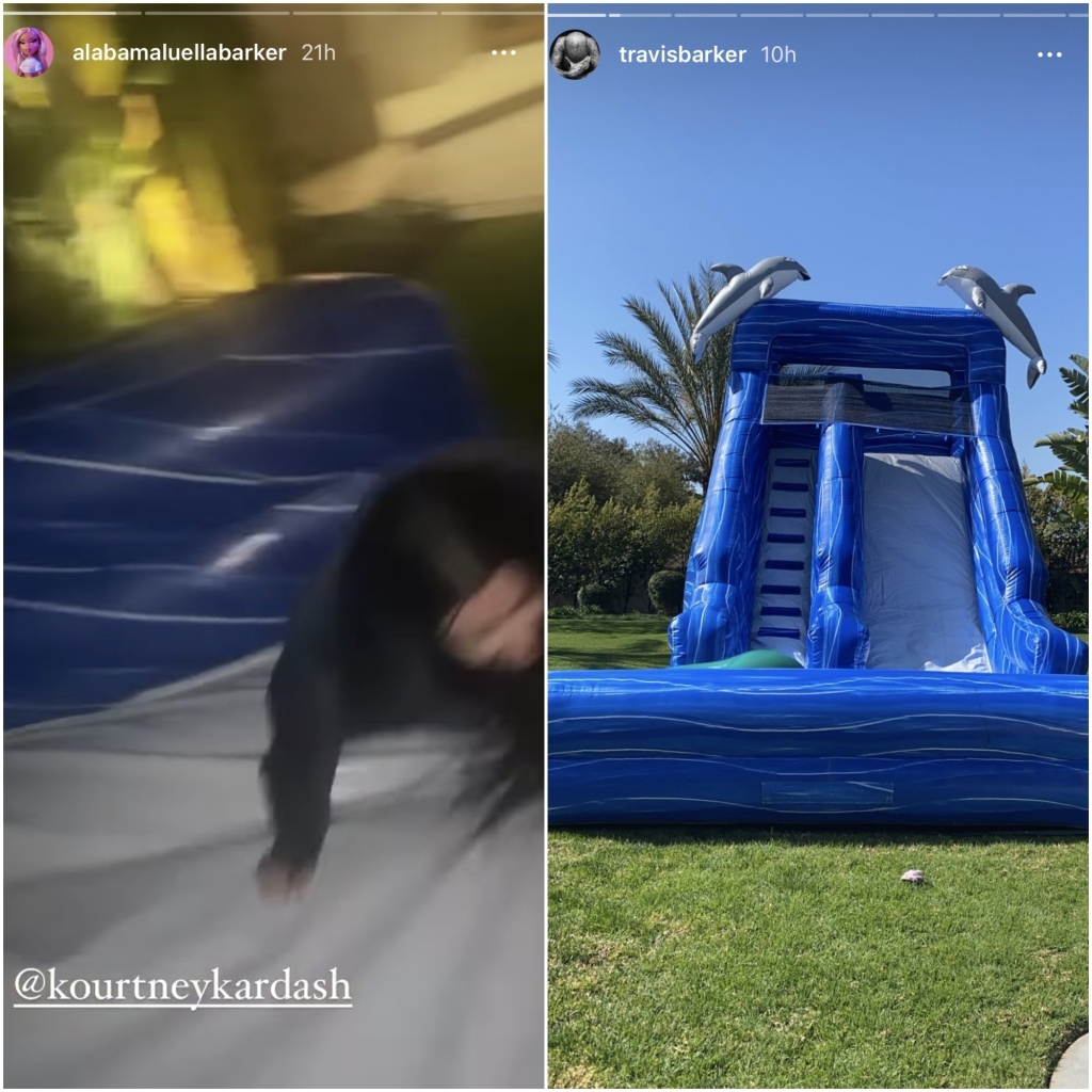 kourtney-kardashian-travis-alabama-barker-blow-up-slide