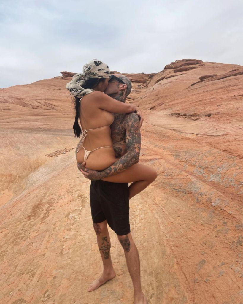 Kourtney Kardashian Kisses Travis Barker in Desert