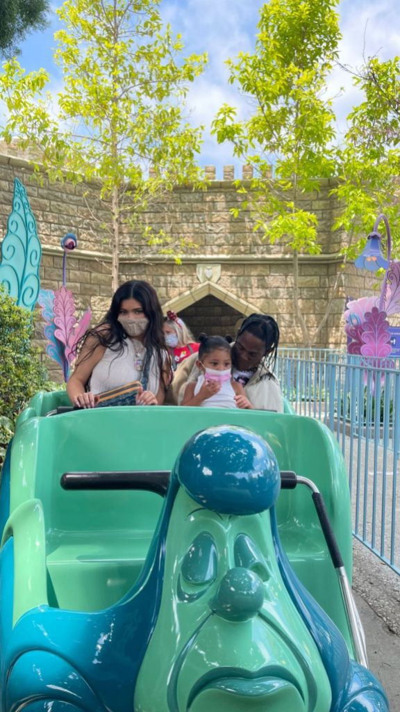 Kylie Jenner and Travis Scott Take Daughter Stormi and Cousins to Disneyland: 'Hands Full Today'