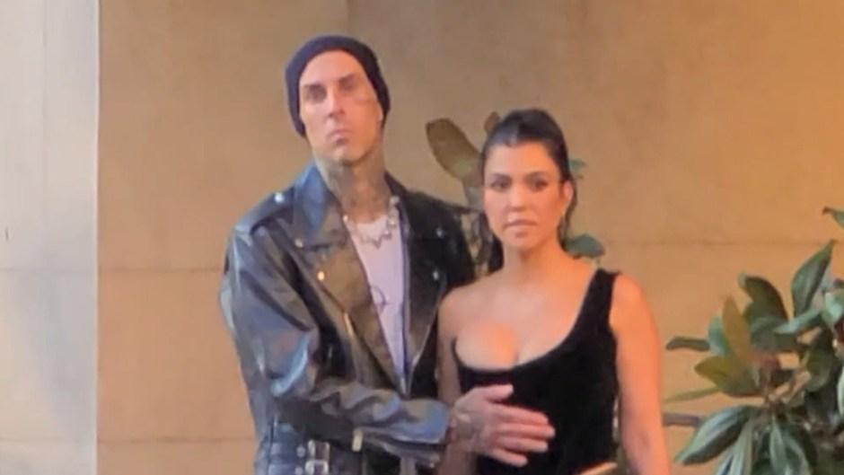 Travis Barker Rubs Kourtney Kardashian's Stomach on Las Vegas Date Night