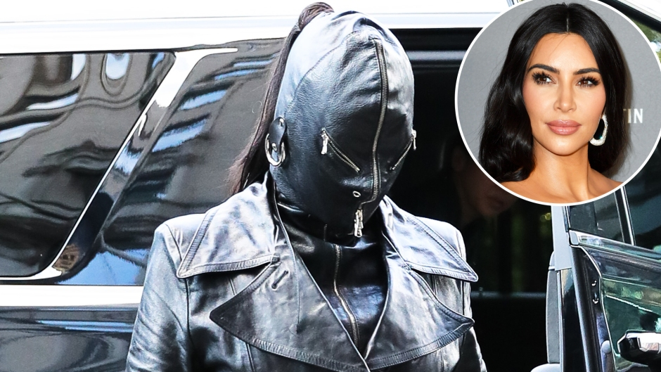 Kim Kardashian Stuns in Head-to-Toe Leather and a Full-Face Mask Arriving in NYC