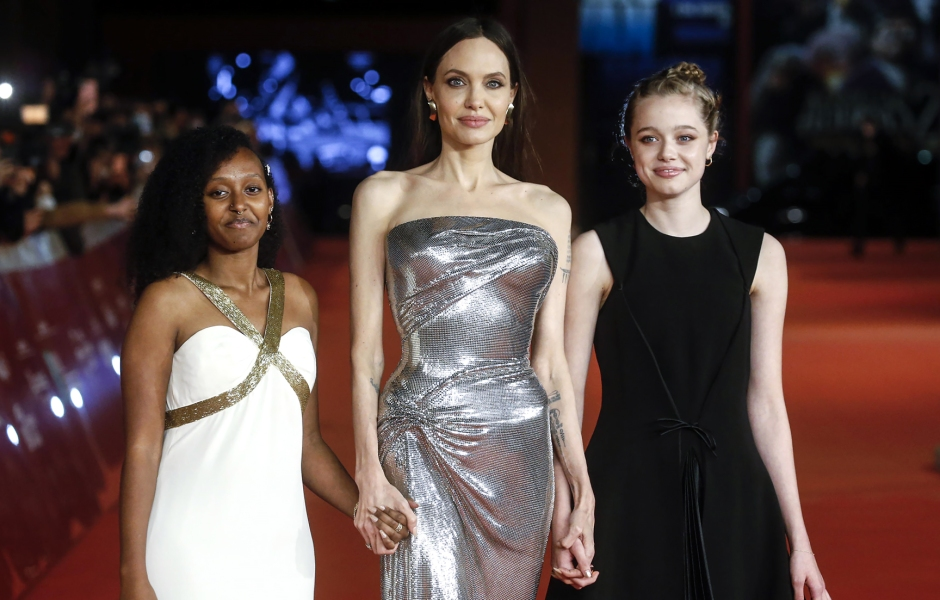 Angelina Jolie's Daughters Shiloh and Zahara Stun in Black and White Dresses at 'Eternals' Rome Premiere