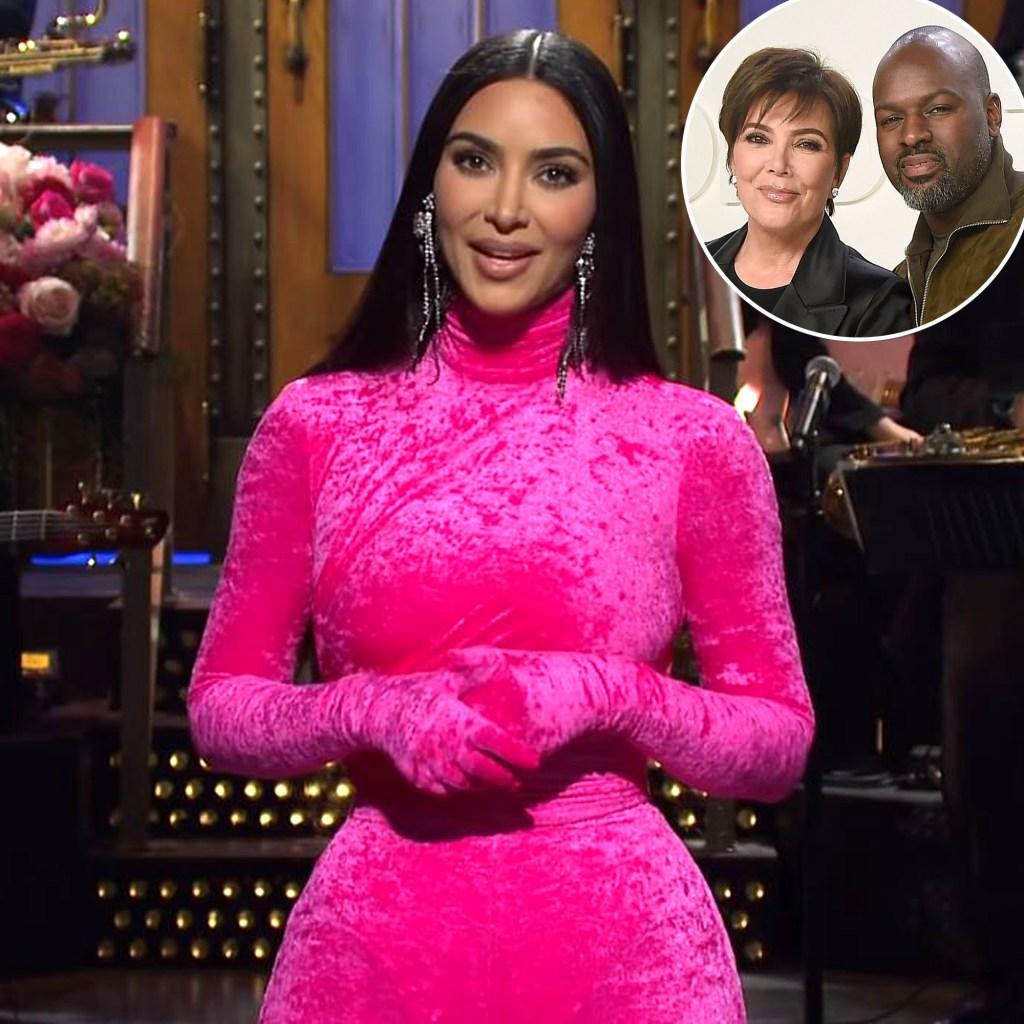 Kim Kardashian Calls Kris Jenner's Boyfriend Corey Gamble a 'Gold Digger' in Hilarious 'SNL' Monologue