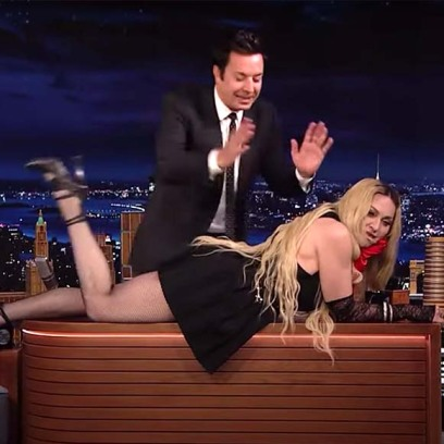 NSFW Madonna Flashes Audience on 'Tonight Show': Shows Her Fishnet Stocking Covered Behind