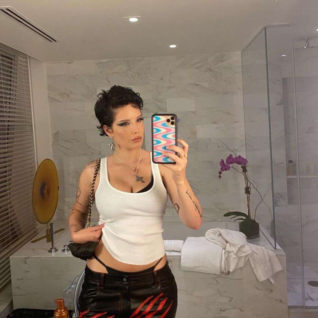 Halsey Flaunts Their Post-Baby Body in a Tight Tank and Leather Pants With an Exposed G-String